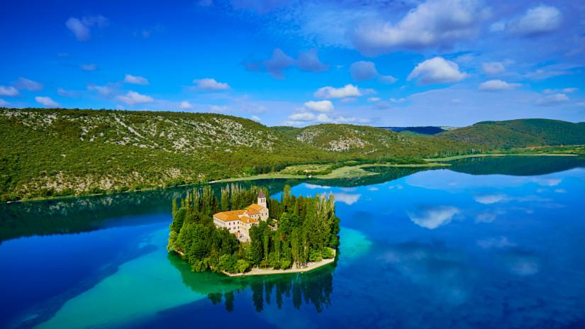 Croatia, Dalmatia, Sibenik-Knin, Krka National Park, Roman Catholic Franciscan monastery Visovac