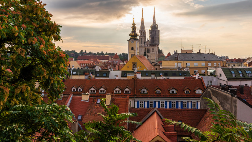 Morning view of Zagreb, Croatia with the Zagreb Cathedral visible in the distance.