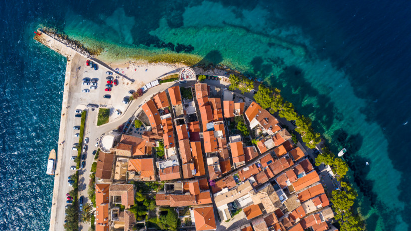 Top down view of the famous Korcula old town in Korcula island in Croatia in the Balkans