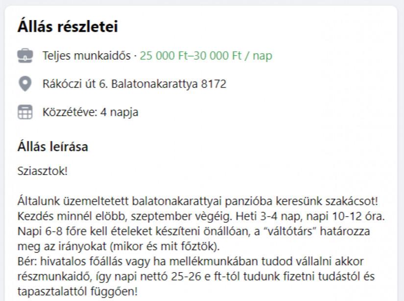 Balatonakarattyán több mint 400 ezer forint nettót is megkereshet egy szakács.