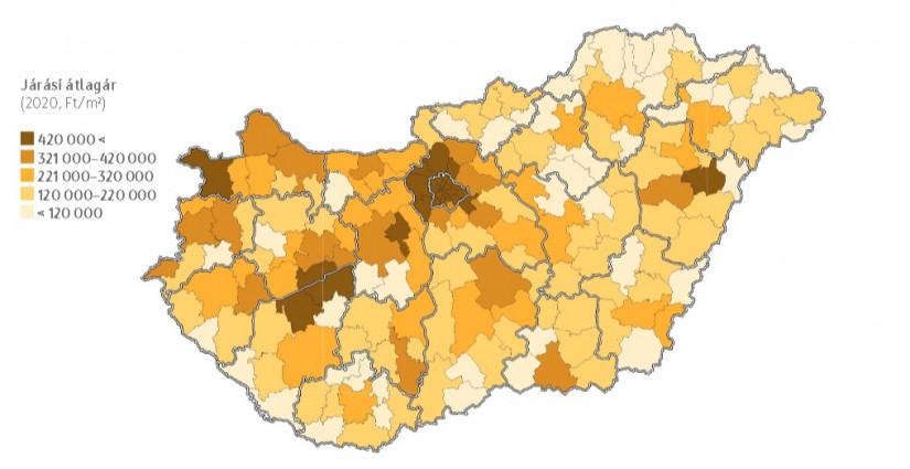 2020-ban eladott lakóingatlanok átlagára járásonként. Forrás: OTP Lakóingatlan Értéktérkép