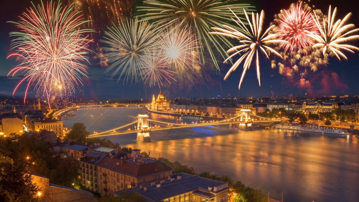 Firework display over the Danube and the Chain Bridge on the celebration of Hungarian National Day on August 20th.