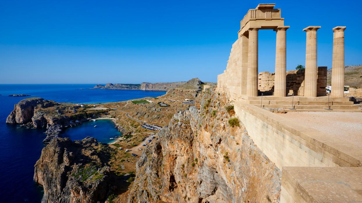 Greece, Dodecanese archipelago, Rhodes island, Lindos Acropolis