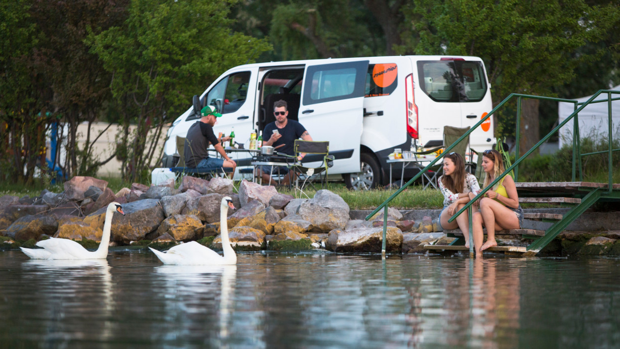 A group of travlers set up camp alongside of Lake Balton for the day. Swans swim along to greet the visitors.