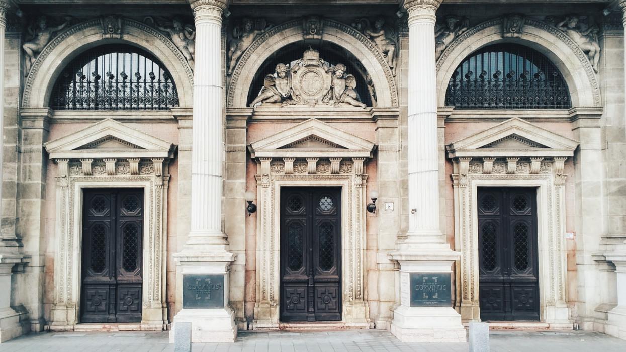 Doors of Corvinus university in Budapest, Hungary.