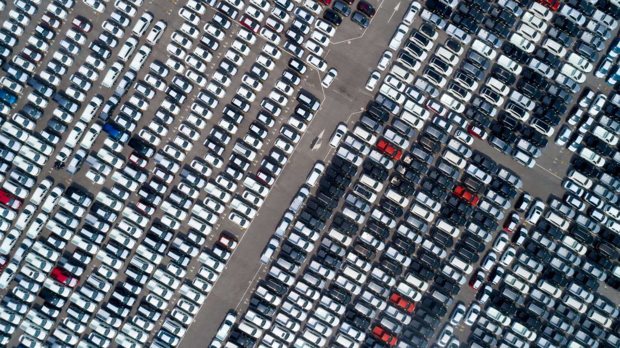 Aerial view of new cars line in port for Export .