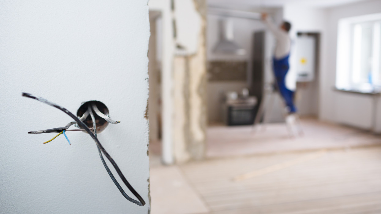 Electrical installations in an apartment being rebuilt