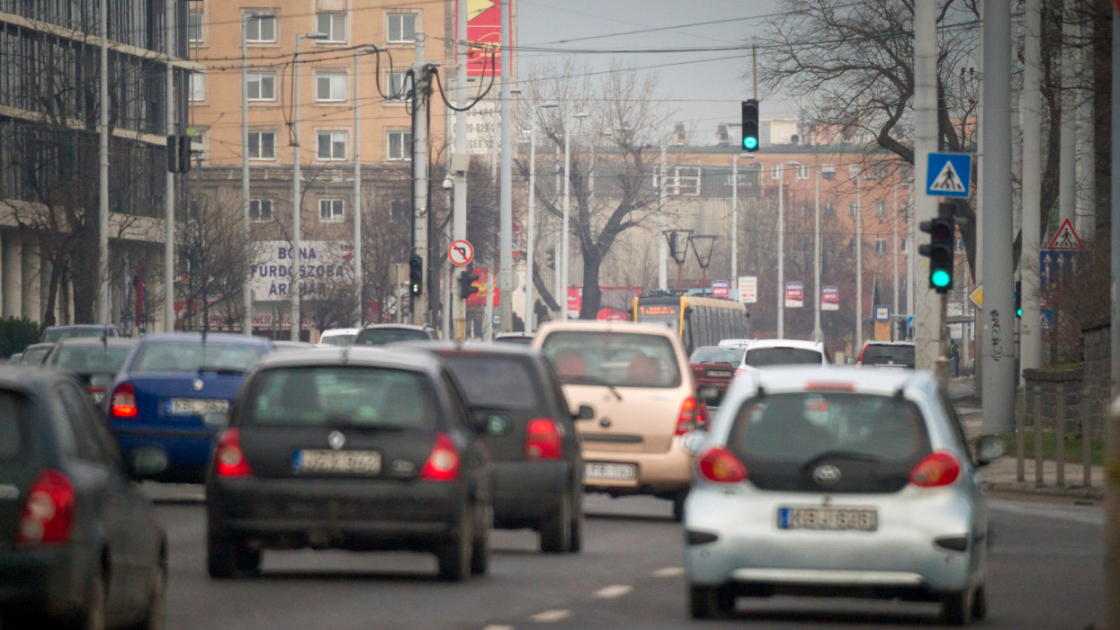 Europe, Hungary, Budapest Area, 2018: View Of Traffic Jam On Main Road