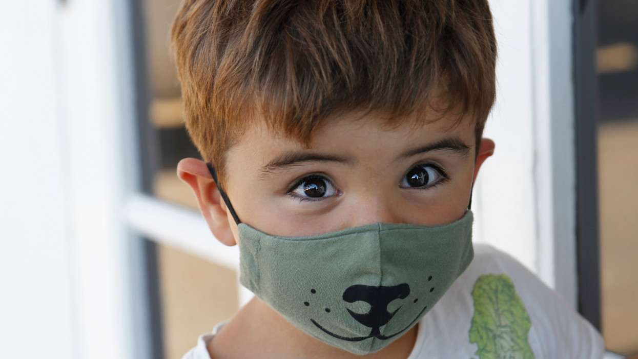 Portrait Of Boy with face mask