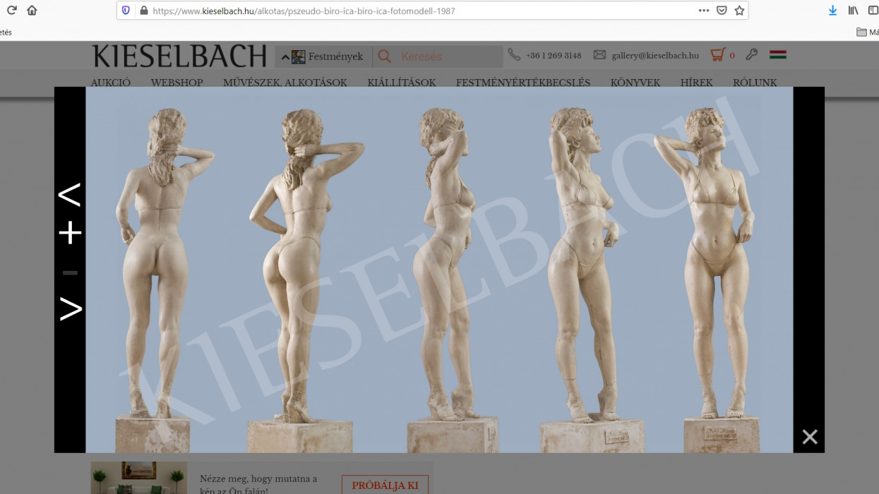 7,8 millió forintért árulja a Kieselbach Galéria a Pauer Gyula szobrászművész által készített, életnagyságú Bíró Ica szobrot.