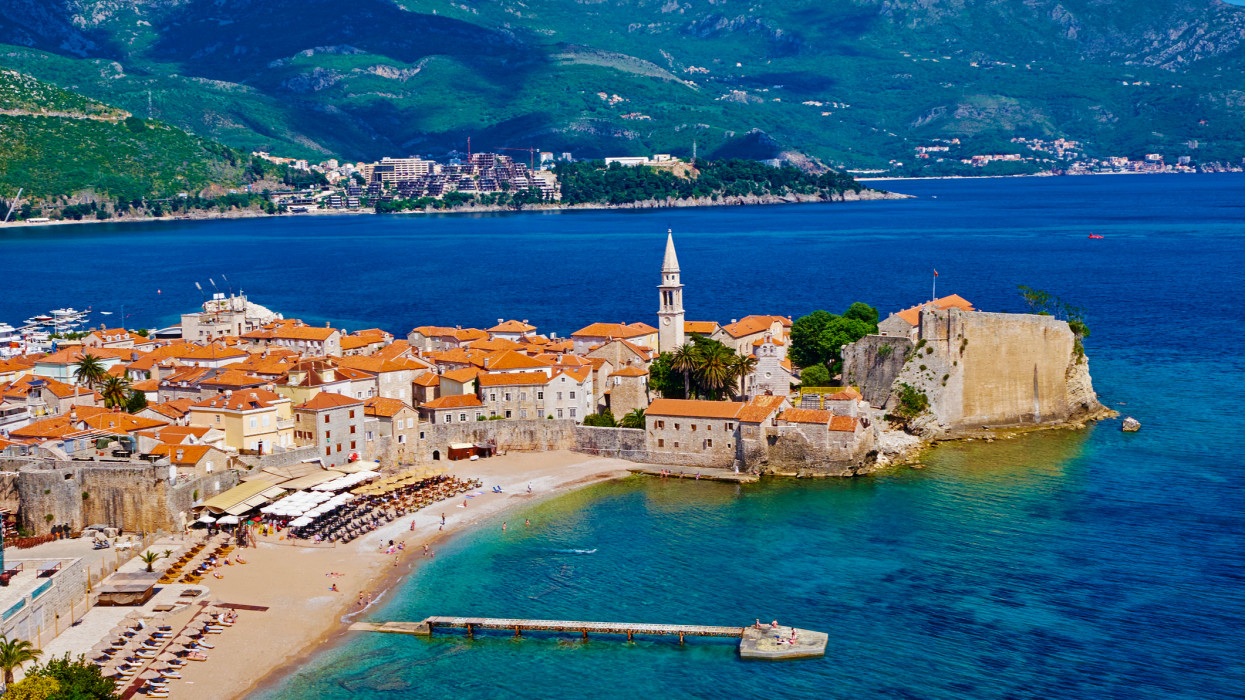 Montenegro, Adriatic coast, old city of Budva, Stari Grad
