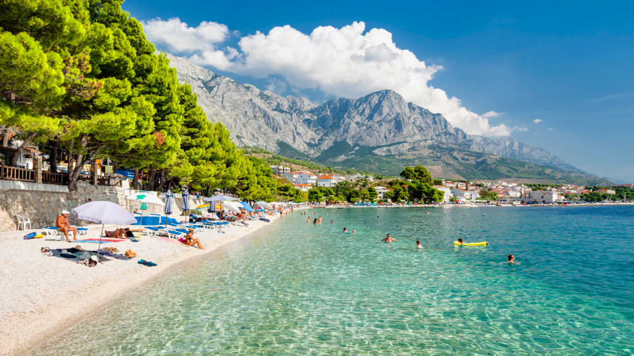 Beach at Baska Voda, a tourist town on the Makarska Riviera, Dalmatia, Croatia