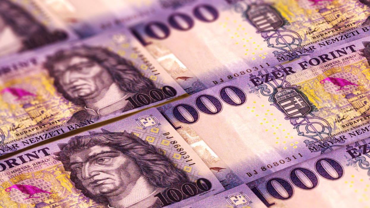 Hungarian forints banknotes background. 100 HUF, hitel