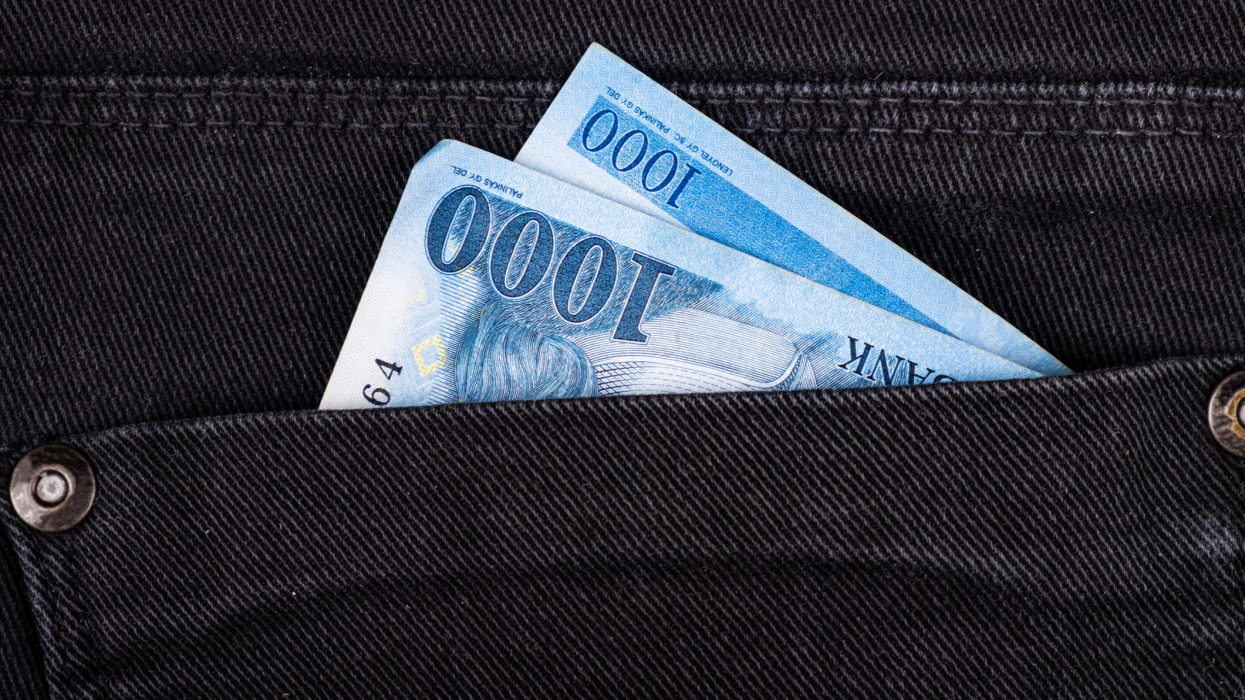 one thousand Hungarian forints in pocket closeup