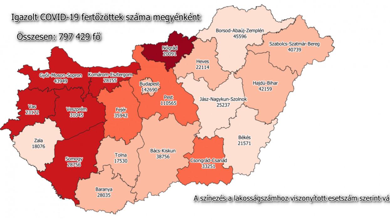 Igazolt COVID-19 fertőzöttek száma Magyarország egyes megyéiben.