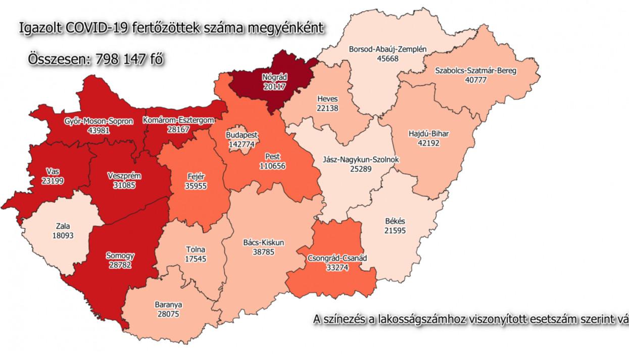 Igazolt COVID-19 fertőzöttek száma Magyarország egyes megyéiben 2021. május 16-án.