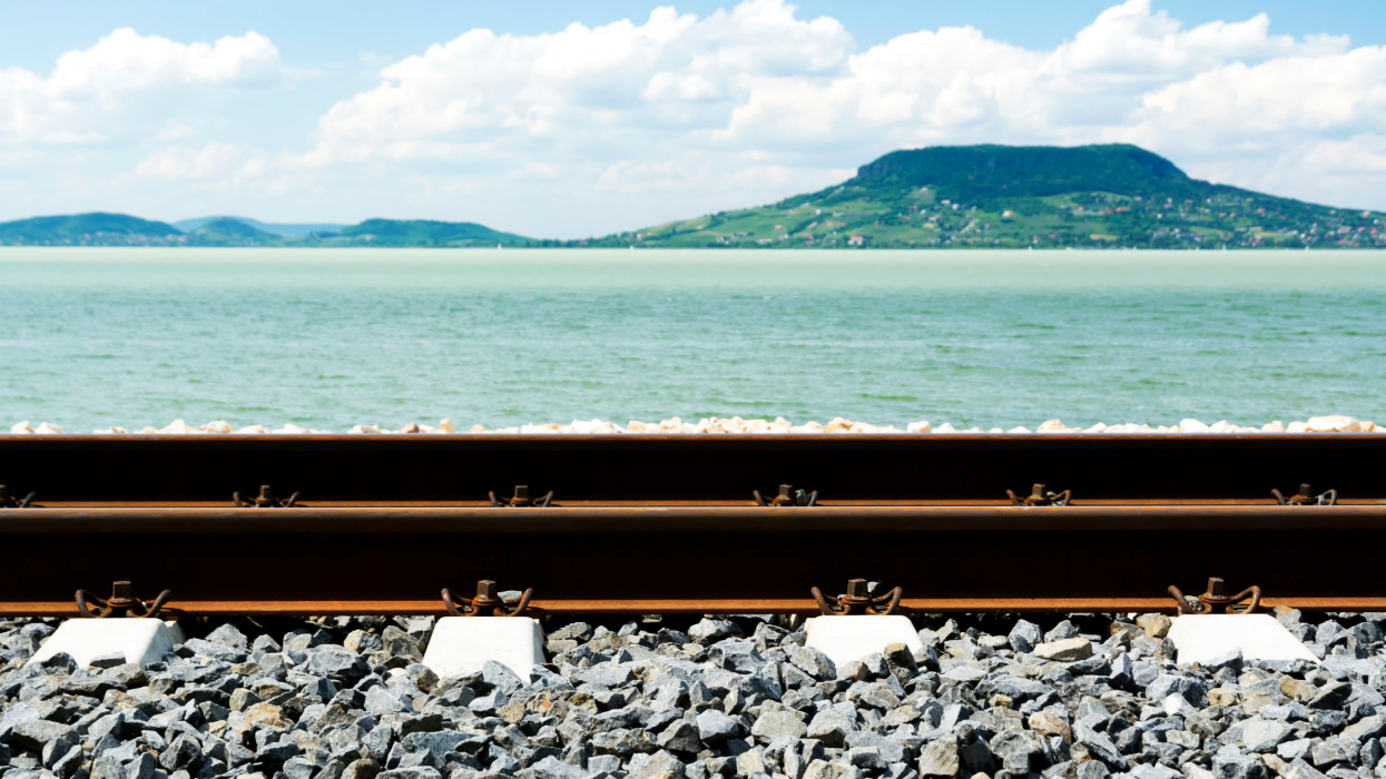 Railway at Lake Balaton, Hungary
