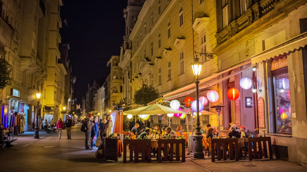 Colorful lights at the restaurant on Vaci street at night in Budapest, Hungary