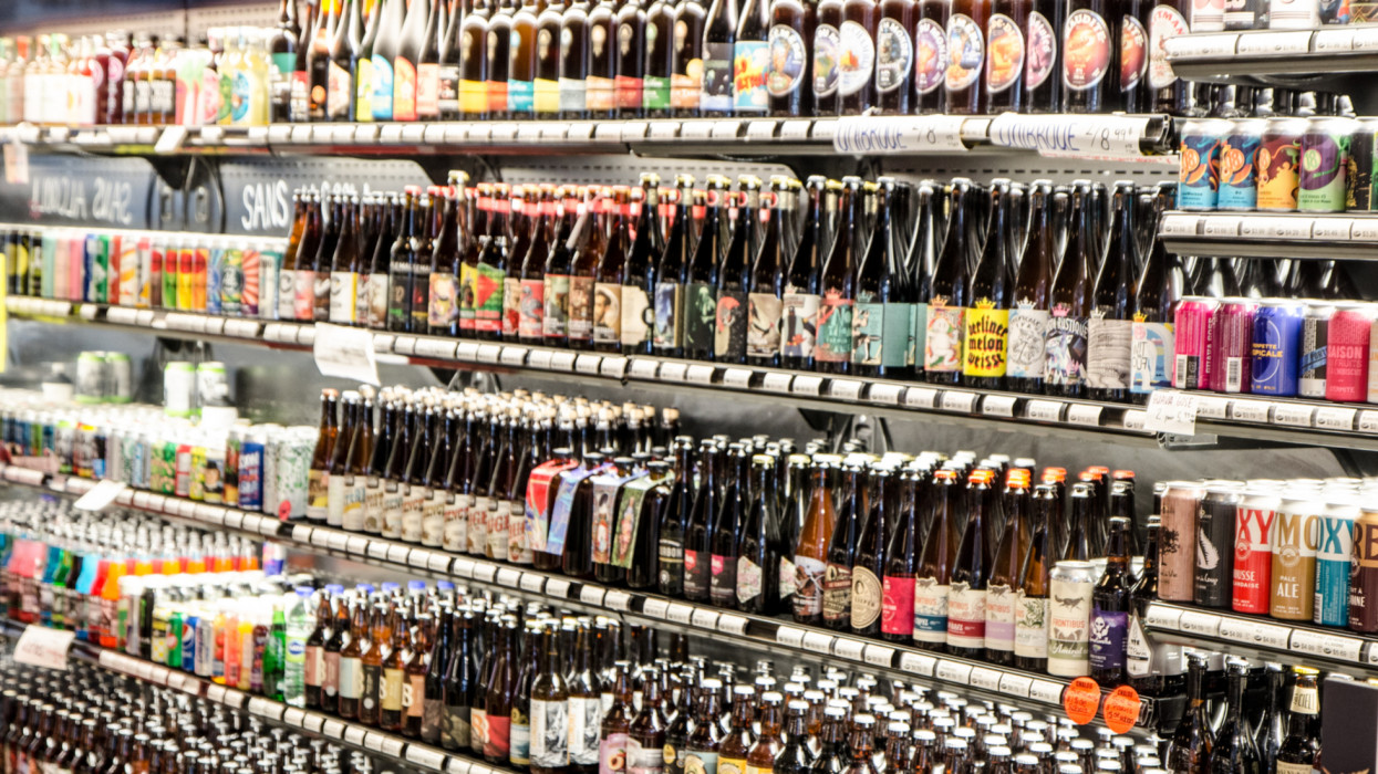 Display of beer bottles and cans