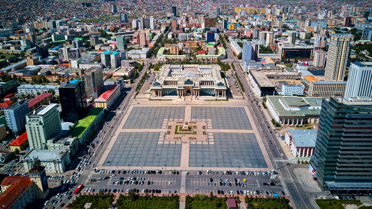 Mongolia, Ulan Bator, aerial view of de the capital city, Gengis Khan square