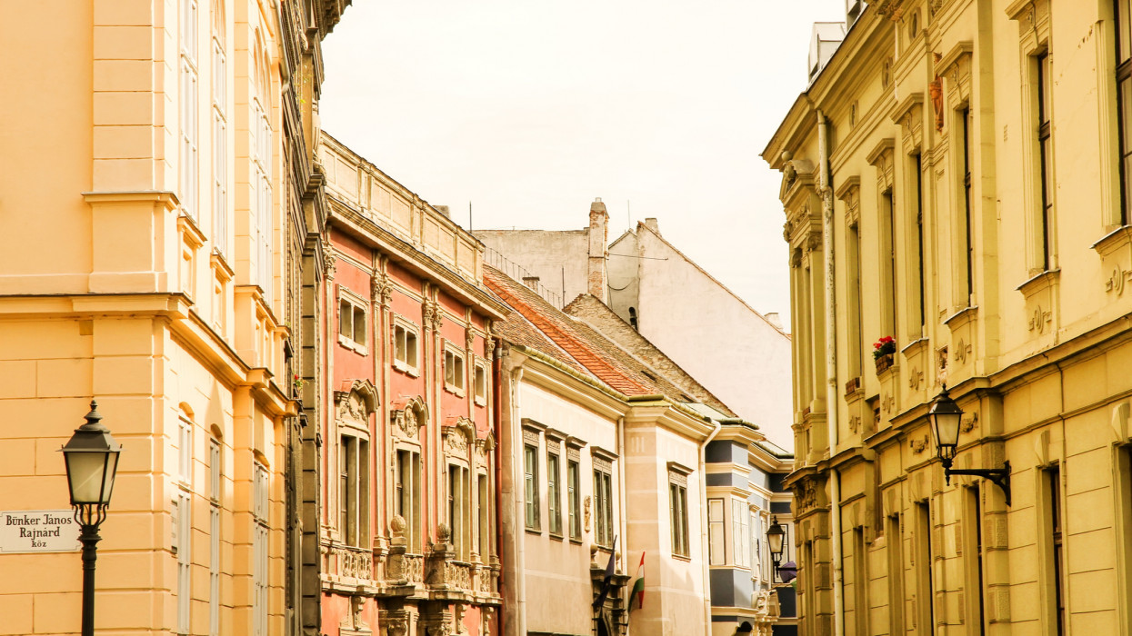 Historic architecture in Sopron, Hungary, Europe.