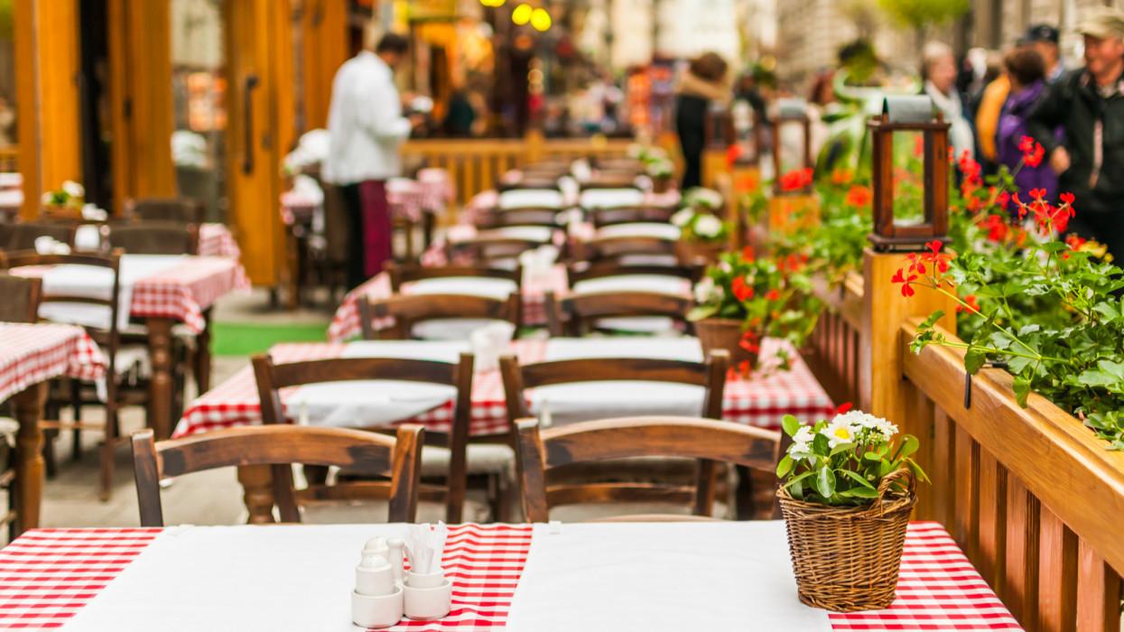 Street restaurant in Budapest, Hungary