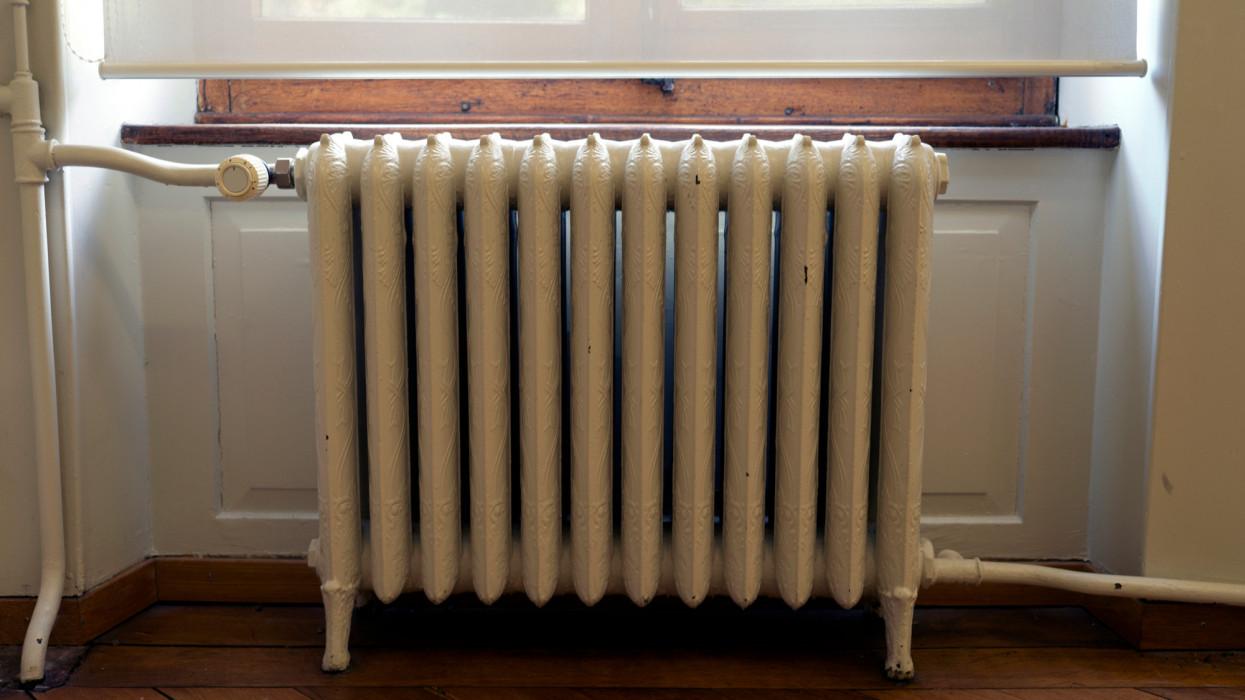 Retro style radiator at Biel, Bern Canton, Switzerland