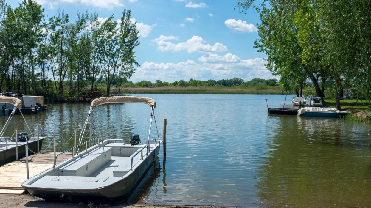 Trip boats waiting for tourists at Tisza lake, Hungary