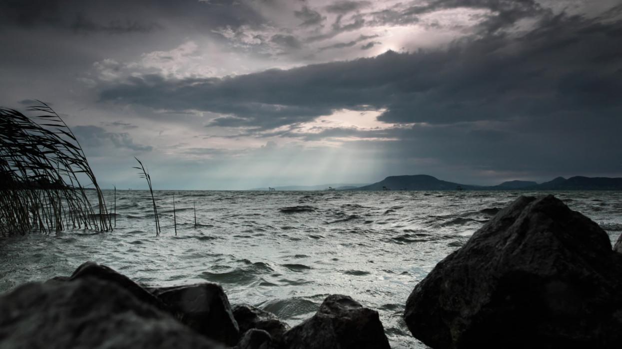 Stormy weather at Lake Balaton, Hungary