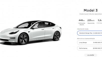 Olcsóbb lett a Tesla Model 3 Magyarországon: ennyivel vágták meg az árat