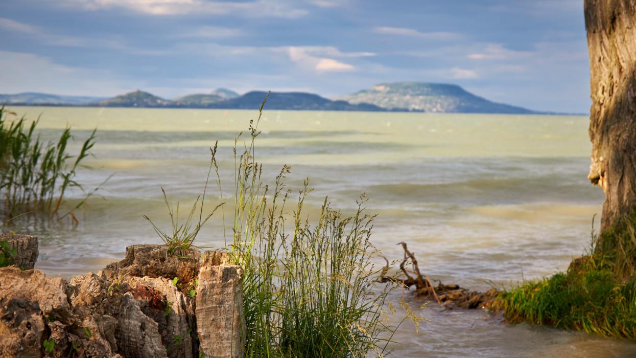 View of famous Hungarian Lake Balaton with volcanoes