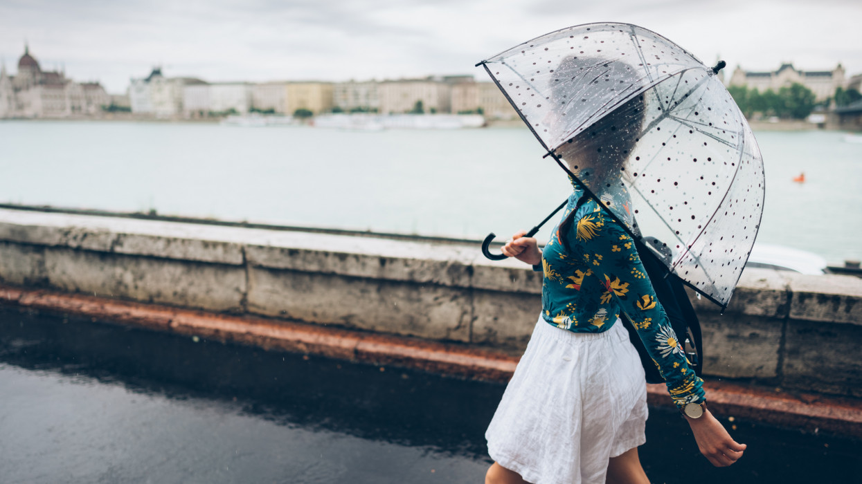 Woman with umbrella walking outside at rainy day