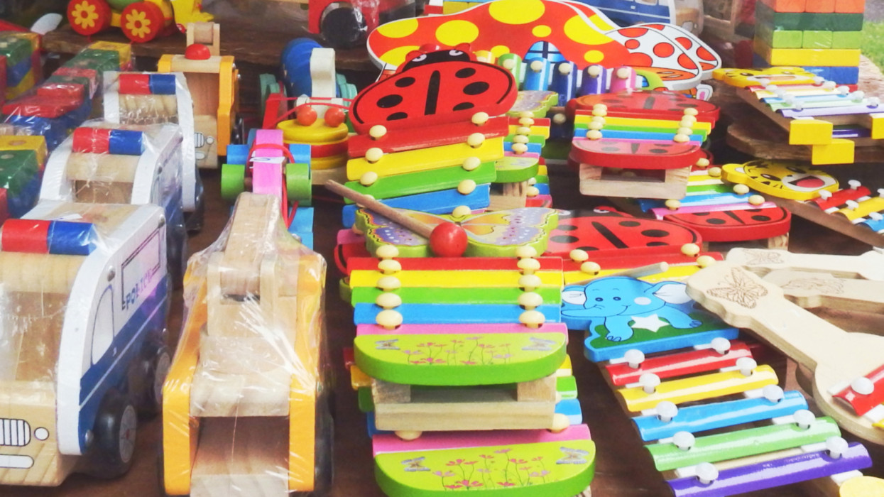 Street shop in a market of wood toys