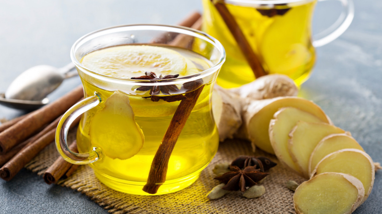 Healthy ginger and lemon drink, natural cold remedy