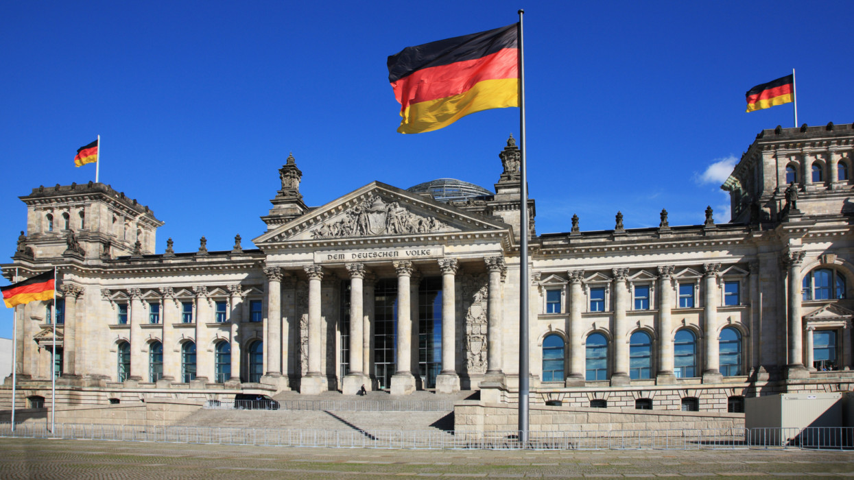 Germany, Berlin, Reichstag, the Parliament Building and national flag