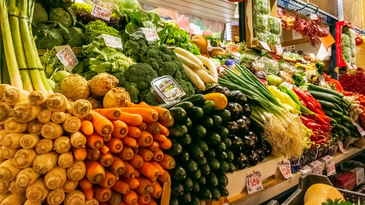 Colorful Vegetables in Central Market Hall in the city of Budapest, Hungary