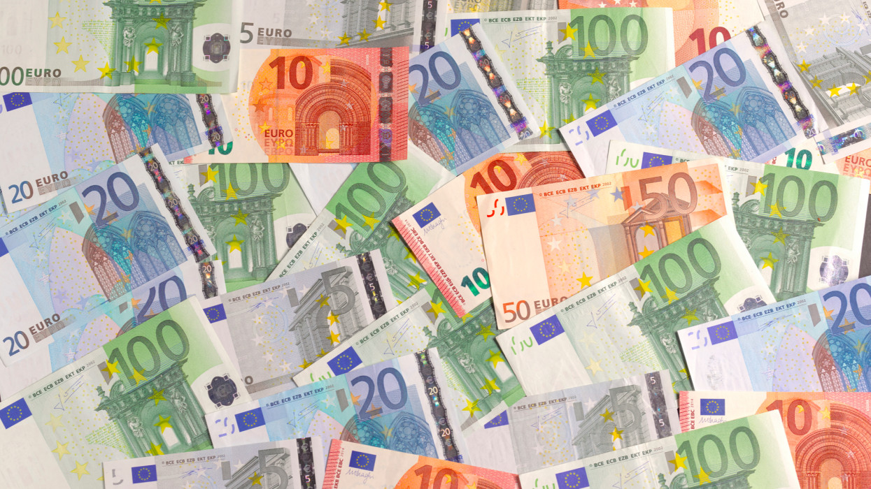 European Union banknotes spread out