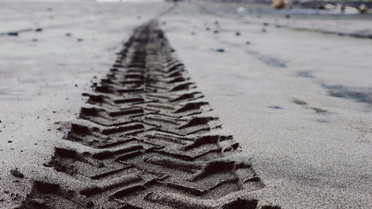 Car Tire Tracks On The Beach Sand