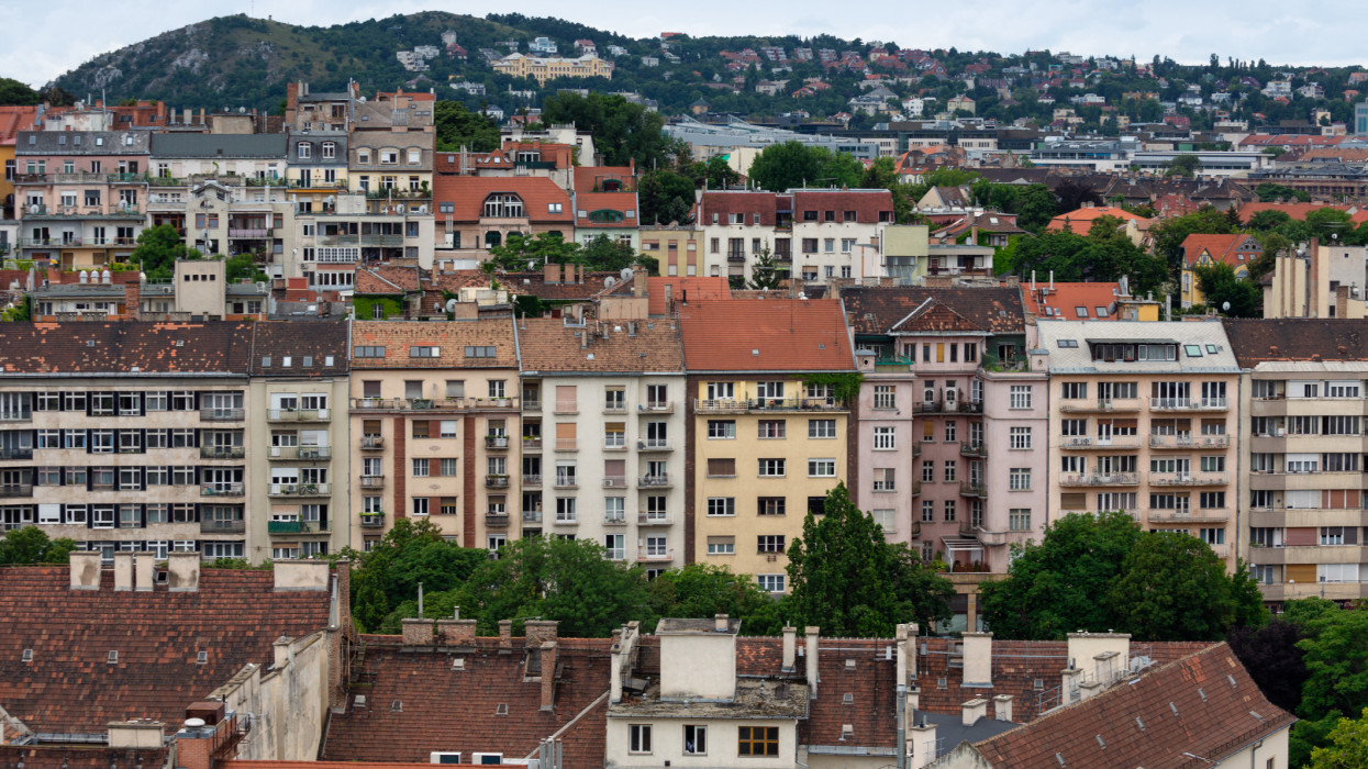Aerial view residential area Hungarian Budapest with apartment buildings