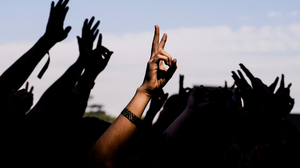 Audience of a show with hands up
