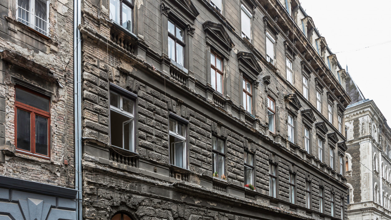Old and dirty facades in Budapest old town