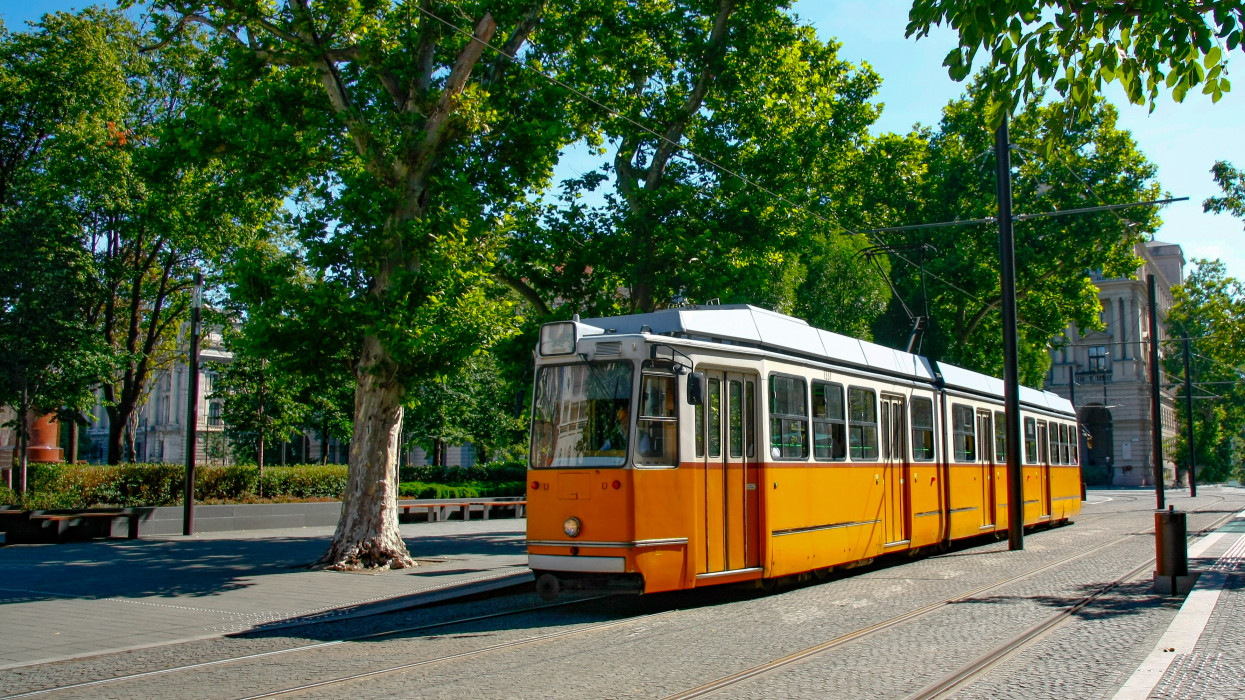 Yellow tram on the streets of Budapest