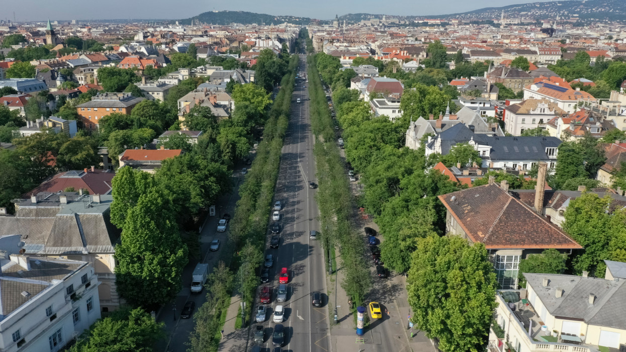 There is a beautiful view from Heroes Square to Andrássy Street. Drone photo. Budapest, Hungary.