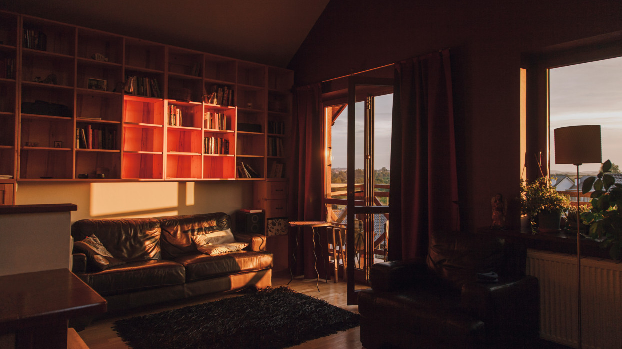 Living room at sunset