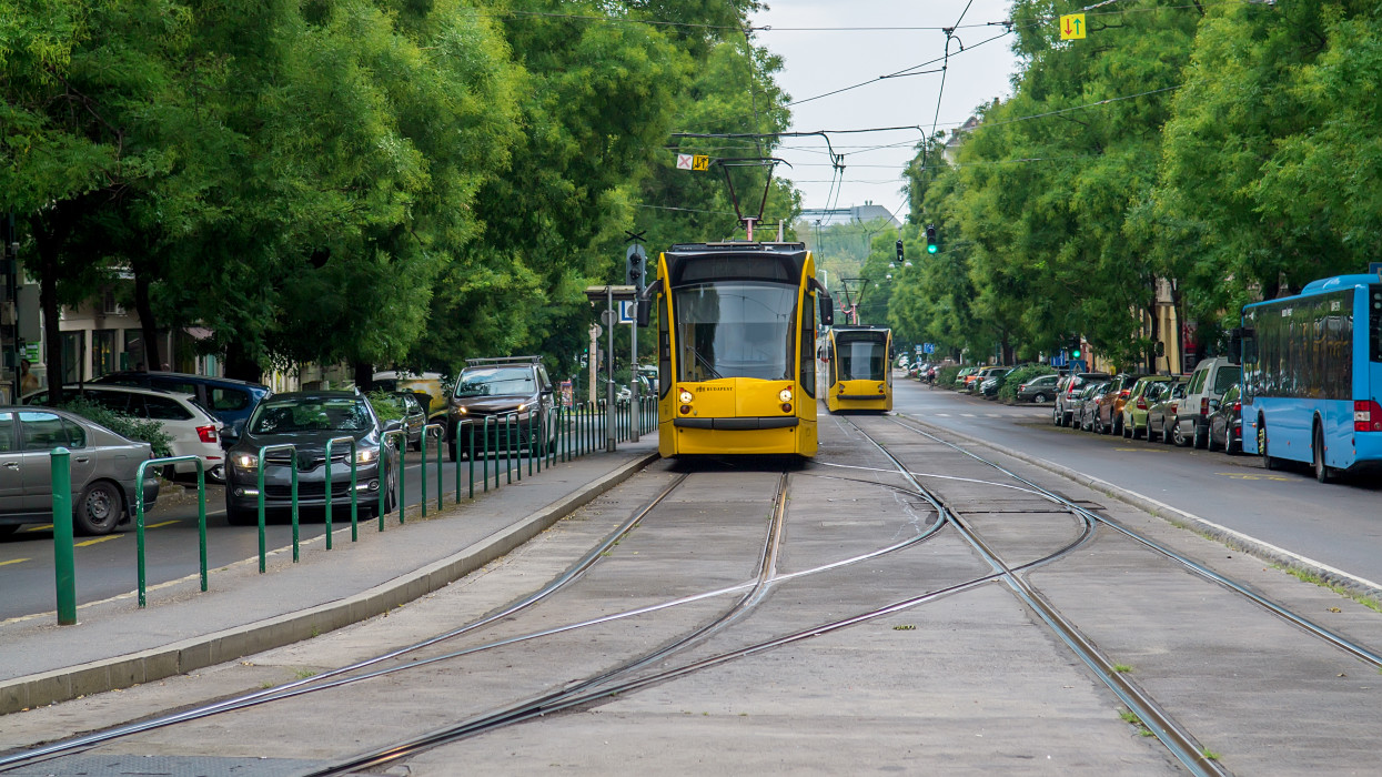 Tram on the street of Budapest. Hungary. Selective Focus