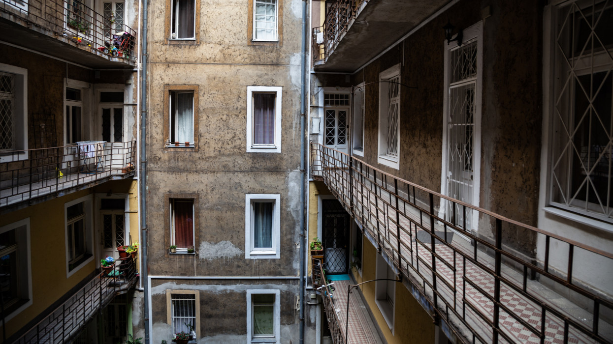 Old apartment residential building in Budapest, Hungary