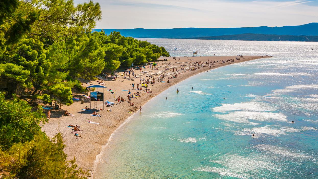 Zlatni Rat Beach. Golden cape. Bol town. Brac Island. Split-Dalmatia county. Croatia.