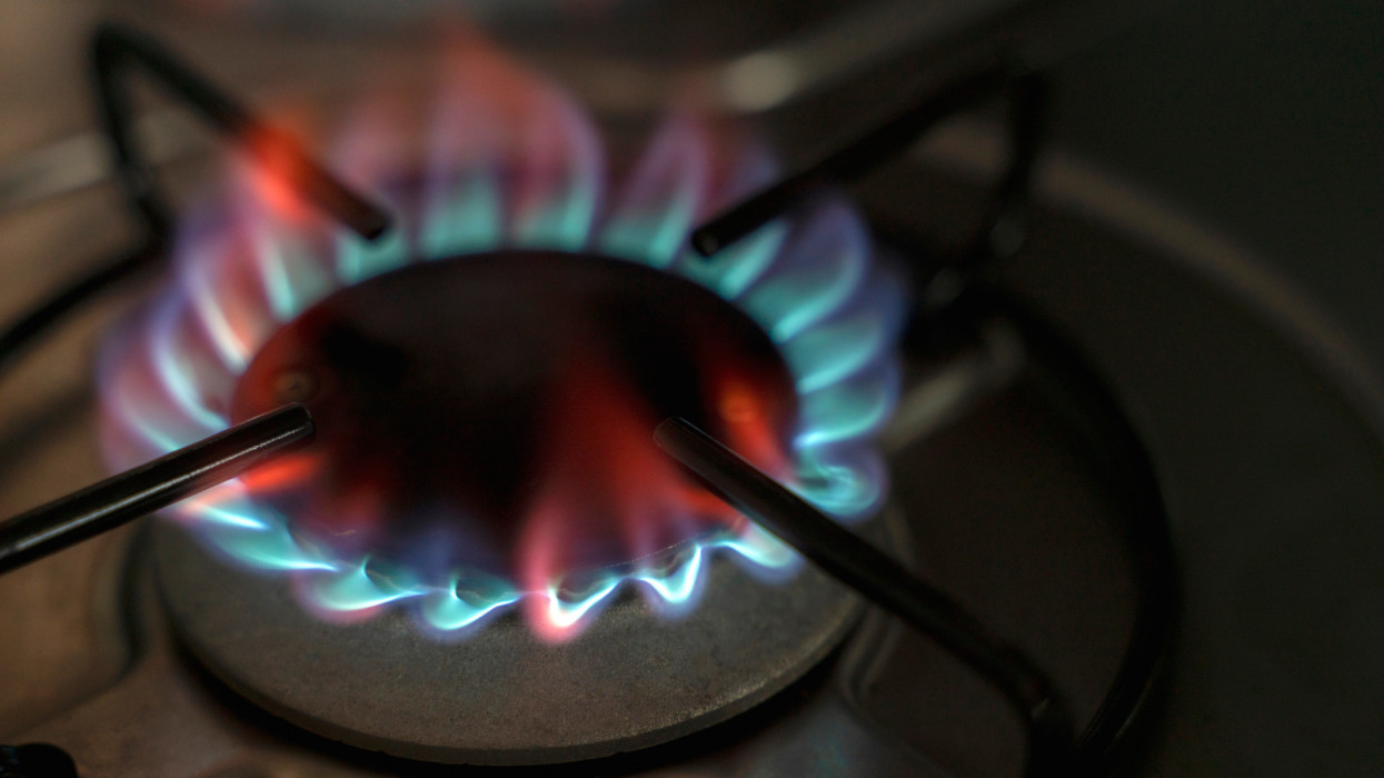 Directly above shot of flame on gas stove burner