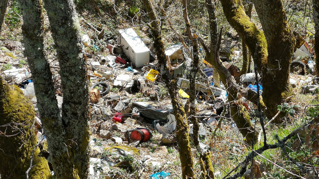 Illegal dumping ground for toxic waste in a natural area of oak forests in the Cantabrian Mountains (Palacios del Sil, León, Spain).