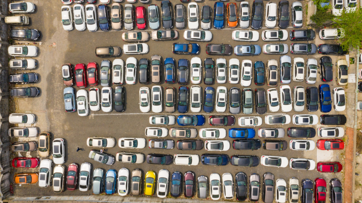 Large number of cars at parking lot